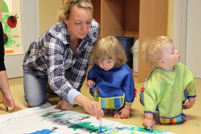 Children playing at the nursery on campus